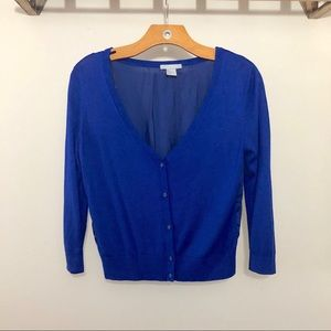 H&M Royal Blue V-neck Cardigan With Sheer Back SM